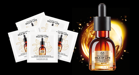 40.000 Oils of Life™ Intensely Revitalising Facial Oil Proben von THE BODY SHOP